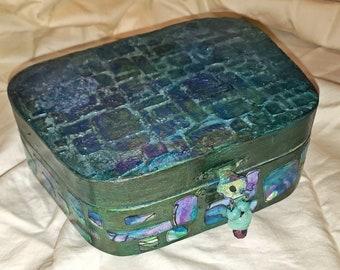 Handmade Treasure Box and self care kit - Hand Painted Jewelry Box - Wood Box - Self care kit