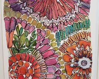 """Original Watercolor - Abstract watercolor - Small Flower painting - """"Seeds Bloom"""" - 8.5 x 11"""
