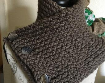 Handmade Crochet Brown Buttoned Neck Cowl