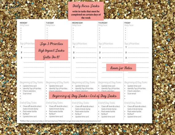 daily planner printable to do list 5 days per page etsy