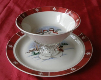 Christmas Two Tiered Plate and Bowl