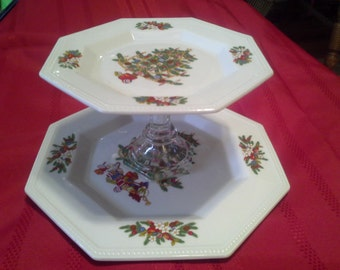 Two Tiered Christmas Plate Cake Stand