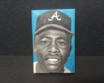 """Hank Aaron drawing by Ross Anderberg • 2x3"""" Mini Canvas Decoupage Print FREE SHIPPING"""