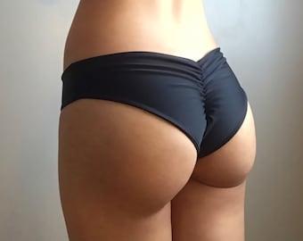 931b1e3ac1 Cheeky Brazilian Bikini Bottom / Low Rise Scrunch Bottom / More Colors  Available