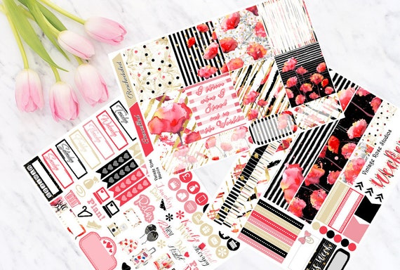 Pink Flamingo Horizontal Weekly Kit Planner Stickers for Erin Condren Planners