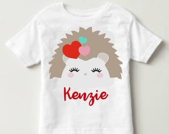 Adorable Personalized Porcupine/Hedgehog Kids Valentine's Day Tee! Perfect for class parties!