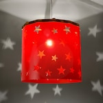 Red Stars Lampshade Ideal for Children's Room and Nursery for Beautiful Stars Projection on The Walls, Ceiling Pendant Magnetic