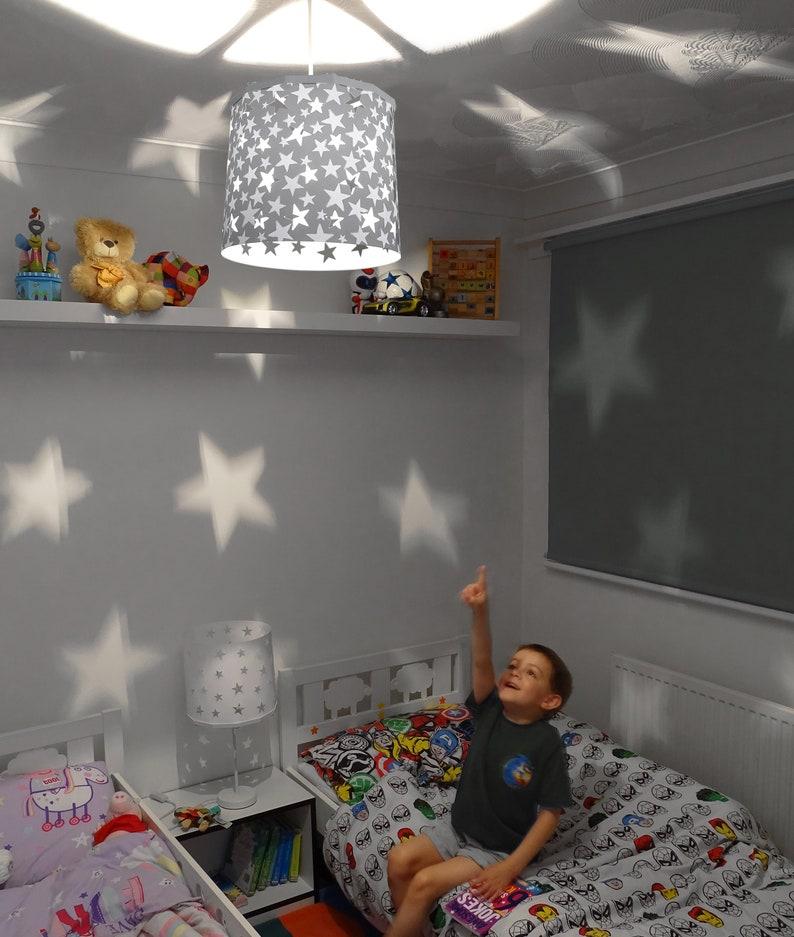 Grey Stars Lampshade Ideal for Nursery Beautiful Night Light fZIHEceE