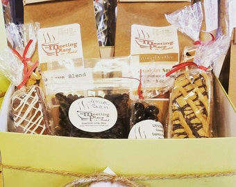 Birthday Gift Box With A Variety Of Gourmet Coffee And Biscotti