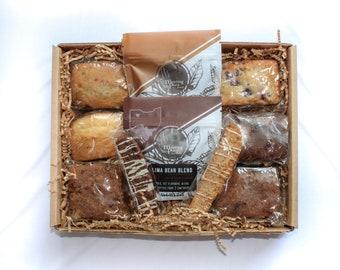 Premium Gourmet Birthday Breakfast Gift Basket, with coffee, handmade, homemade baked goods, friend, teacher box