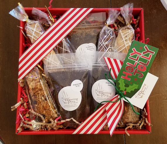 Red & Green Gourmet Coffee Break Gift Basket with coffee, homemade baked goods, Christmas gift, thank you gift, corporate gift, holiday gift