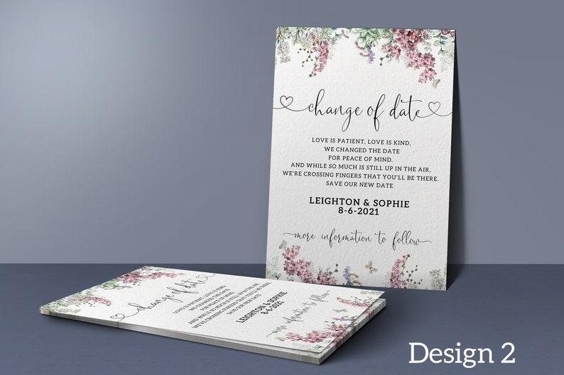 Floral Wedding Date Change Cards Wedding Postponed Announcement Cards Postponed Wedding Cards Change of Date Cards #000 We Still Do
