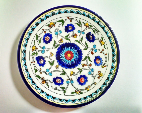 Decorative Wall Plates For Hanging: Large White Blue Decorative Ceramic Plate Hanging Or