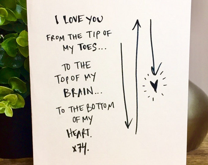 Love you to the Tip of my Toes, First Anniversary Card for him, Paper Anniversary, Card for wife, 1st wedding anniversary
