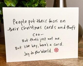 Funny christmas card, adult christmas card, happy holidays, funny holiday card, simple holiday card, unique christmas card, joy to the world