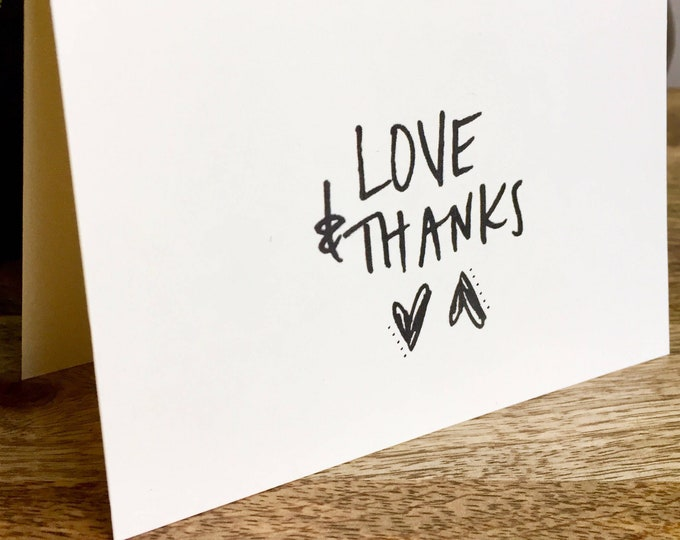 Featured listing image: Love and Thanks card, thank you card set clean style, simple thank you card, handlettered stationery, Hand lettered card, heart thank you