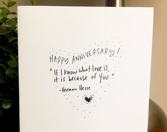 If I Know What Love Is, It Is Because of You, Herman Hesse Quote Love Card, Anniversary Card