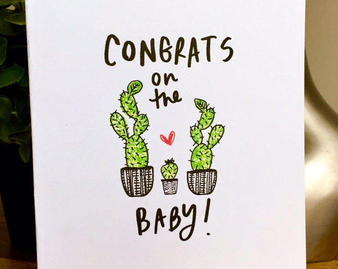 6 Pack of Cards, Bulk Greeting Cards, Cactus card, New baby card, congrats, expecting card, congrats on new baby, congrats on new baby