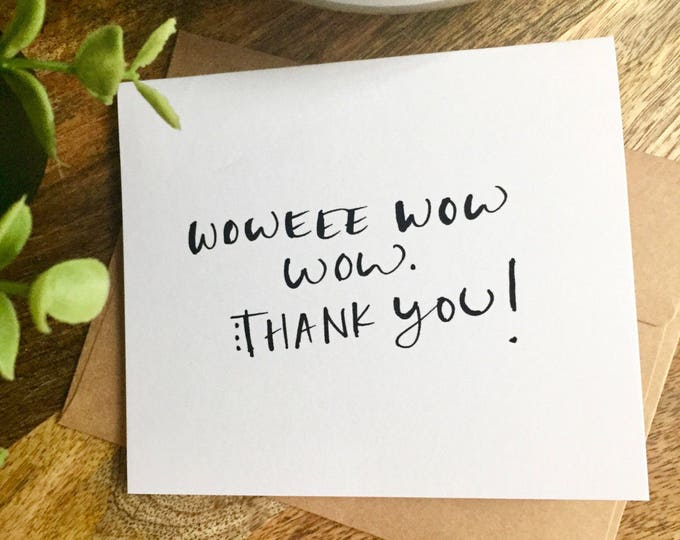 Handwritten Thank You Note Card, Wow thanks, Hand Lettered Thank You Card Set, Thank You Note Card Set, Bulk Thank you Cards