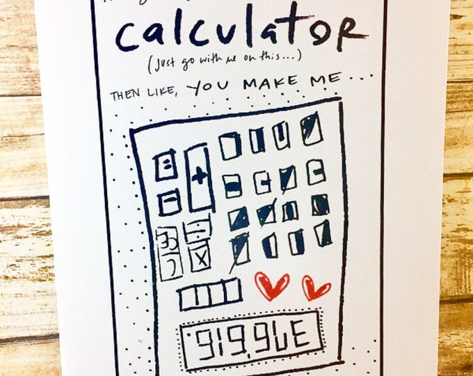 You Make Me Giggle, Calculator Love Card, One Year Anniversary Card for her, Paper Anniversary, Cute Hello Card, unique anniversary card