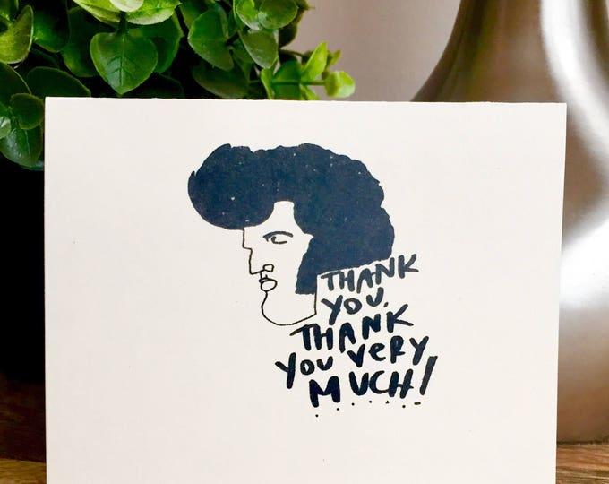 10 pack of Elvis thank you card, thank you very much, vegas wedding card, handmade thank you card, wedding thank you bulk cards