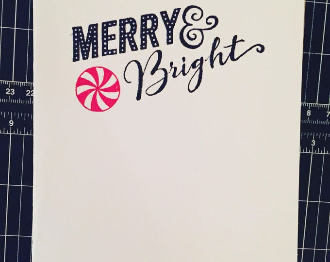 christmas cards, Merry and bright, simple holiday card, hand letter xmas card, unique holiday card, peppermint, handmade holiday card