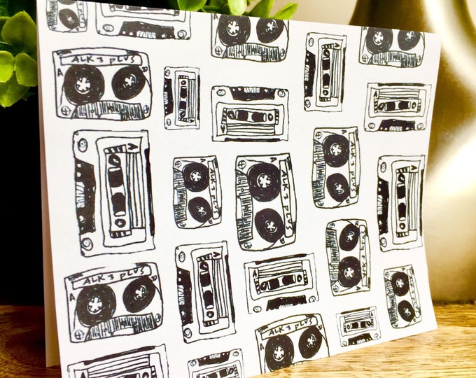 Mix tape print notecards, thank you card set unique style, simple thank you card, handlettered stationery, mix tape, 90s card