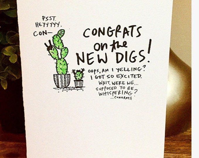 6 Pack of cards,Bulk Greeting Cards,  Congrats on the new house card, cactus new house card, housewarming card, new digs, cactus card