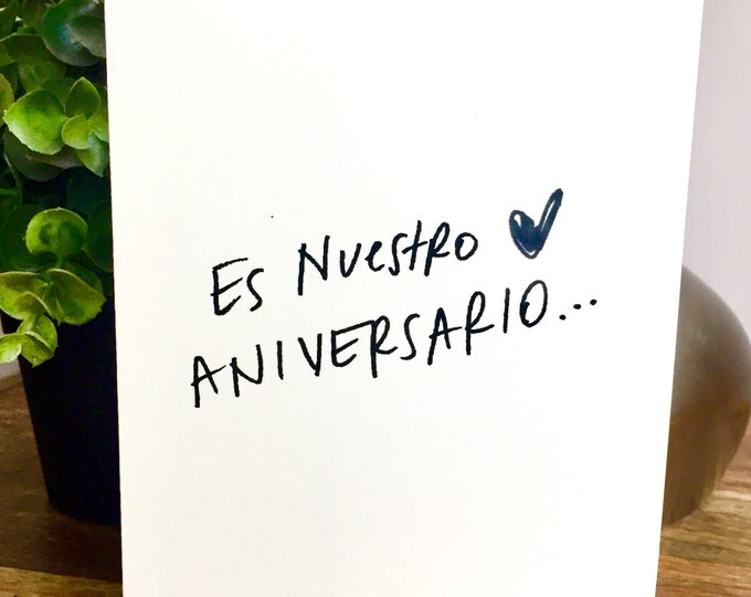 Es Nuestro Aniversario, One Year Anniversary Card for husband, Paper Anniversary, Card for wife, 365 days, 1st wedding anniversary