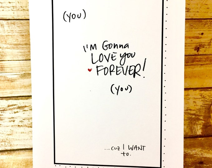 Featured listing image: I will love you forever card, One Year Anniversary Card for her, Paper Anniversary, Cute Hello Card, hello i love you card, funny anniversar