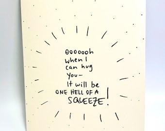 Hug card, Social Distance/Quarantine Card, Reach out with Love