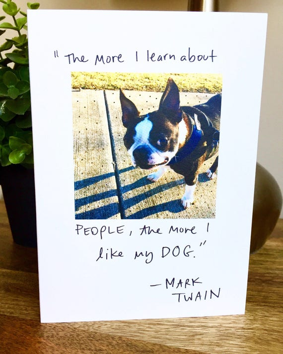 Boston Terrier Card Funny Card Dog Card Mark Twain Card Etsy