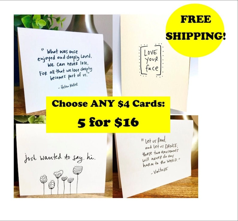 Pick Any 5 Single A2 Cards Card Set Value Set Greeting Card image 0