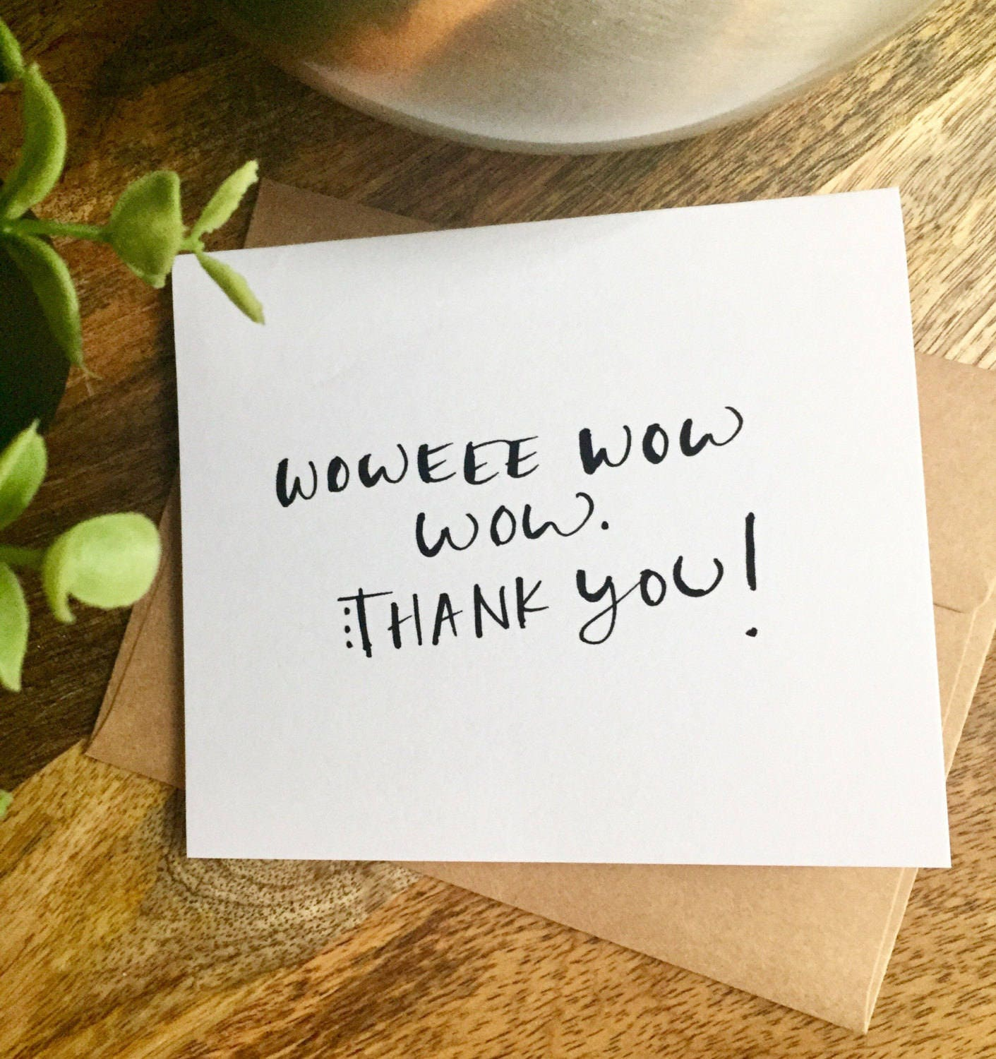 Handwritten Thank You Note Card Wow Thanks Hand Lettered Thank You
