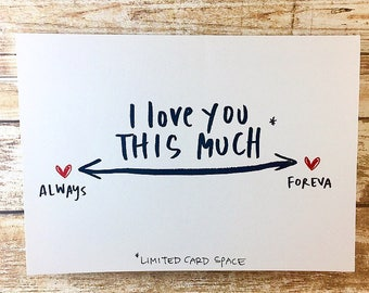 I Love You This Much Card, Anniversary Card, Social Distancing Card