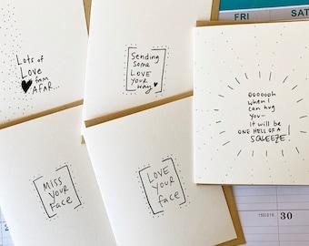 Social Distancing 5 Card Set, Card Set, Greeting Card Bundle, Missing You, Love your Face, Encouragement Cards,  Card Set of 5