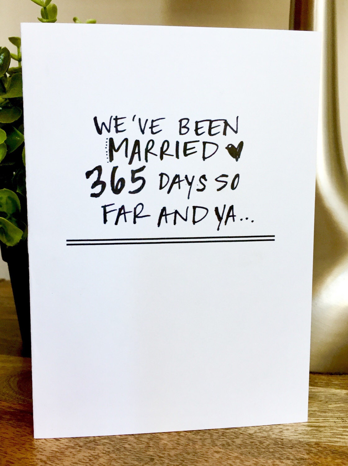 One Year Anniversary Card for her, Paper Anniversary, 1st wedding