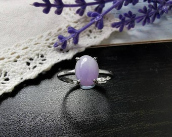 Lavender Type A Grade A Natural Jadeite Jade Fei Cui 925 Silver White Gold Plated Ring