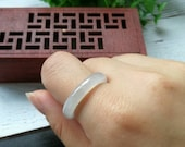 US Size (18.6mm Inner Diameter) Type A Grade A Natural Jadeite Jade Fei Cui Abacus Band Ring