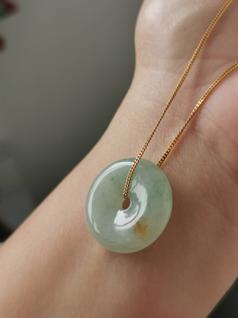Icy Light Green With Red Type A Grade A Natural Jadeite Jade Fei Cui Donut Pendant