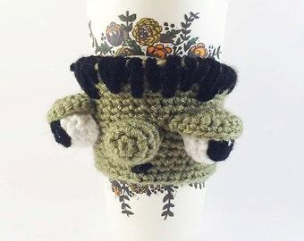 Crocheted Frankenstein Wool Coffee Cozy - Crochet Cup Cozy - Coffee Cup Warmer - Monster Cup Cozy - Coffee Sleeve - Tea Cup Cozy