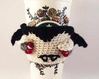 Crochet Vampire Coffee Cozy - Vampire Cup Warmer - Crochet Cup Cosy - Monster Cup Cozy - Sad Vampire Coffee Sleeve - Tea Cup Cozy - Reusable