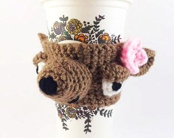 Crocheted Bear Coffee Cozy - Cute Bear Cup Warmer - Crochet Cup Cozy - Bear Cup Cosy - Cute Coffee Sleeve - Tea Cup Cozy - Reusable Cup Co