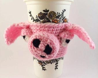 Crochet Pink Pig Coffee Cozy - Cup Cosy - Cup Warmer - Pink Pig - Unique Gift Cozy - Piggy Coffee Sleeve - Tea Cup Cozy - Reusable Cup Cozy