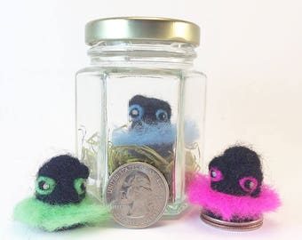 Tiny Monster In Jar - Needle Felted Disco Bug (Black/Color) - Cute Gift - Wool Mini Monster - Unique Fiber Art - Unusual / Humorous Gift