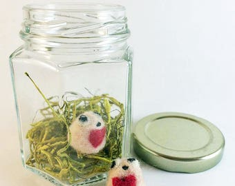 Tiny Monsters In A Jar - Needle Felted LOVE BUGS - Cute Romantic Gift  -Unique Anniversary Gift - Handmade Monster - Fiber Art