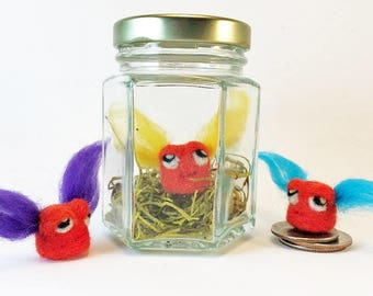 Tiny Monster In A Jar - Needle Felt Tufty Butt-Mite (Orange/Color) - Wool Mini Monster - Unique / Humorous Father's Day Gift - Fiber Art