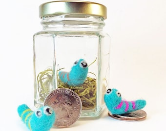 Tiny Monster In A Jar - Needle Felted Three-Eyed Bogey Worm (Blue/Color Stripe) - Cute Housewarming Gift - Funny / Unique Gift - Fiber Art
