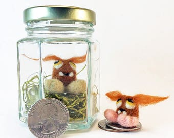 Tiny Monster In Jar - Needle Felt Big Bear Bigfoot Baby - Cute / Unique Gift - Felt Mini Monster - Funny / Unusual Gift - Fibre Art