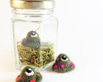Tiny Monster In A Jar - Needle Felt Fart Fluke (Olive Green/Color Spot) - Cute / Funny Gift - Mini Monster -Unique Gift - Humorous Fiber Art